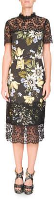 Erdem Short-Sleeve Floral-Print Sheath Midi Dress with Lace Yoke & Hem