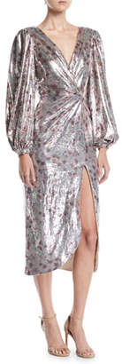 Johanna Ortiz Alfonsina V-Neck Long-Sleeve Floral-Print Sequin Cocktail Dress w/ Slit