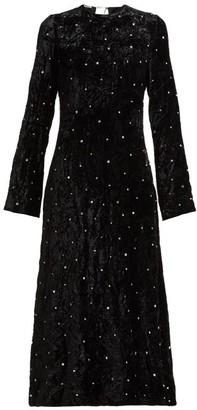 Miu Miu Crystal Embellished Open Back Velvet Dress - Womens - Black