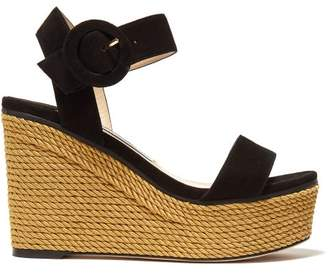 Jimmy Choo Abigail 100 Suede Wedge Sandals - Womens - Black Gold
