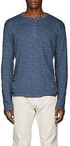 ATM Anthony Thomas Melillo Men's Distressed Slub Cotton Henley - Blue