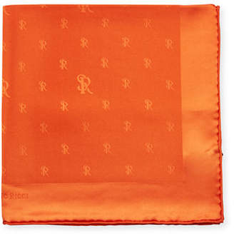 Stefano Ricci Silk Logo Pocket Square