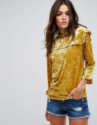 Blank NYC Velvet High Neck Top with Ruffle Detail