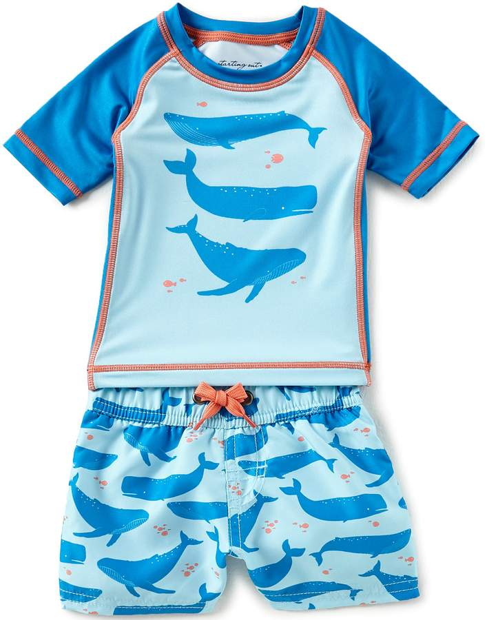 Baby Boys 3-24 Months Whale-Print Rashguard Top & Shorts Swimsuit