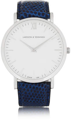 Larsson & Jennings Cm Lizard And Stainless Steel Watch - Storm blue