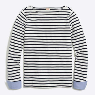 J.Crew Factory Cuffed striped boatneck shirt