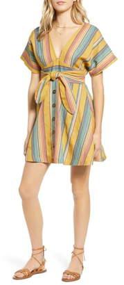 Moon River Tie Waist Stripe Minidress