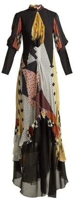 Etro Almira Patchwork Silk Blend Gown - Womens - Black Multi