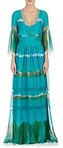 Alberta Ferretti WOMEN'S TIE-DYED SILK LONG DRESS SIZE 38 IT