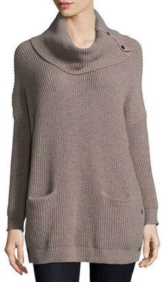 Neiman Marcus Long-Sleeve Cowl-Neck Chunky Pullover $190 thestylecure.com