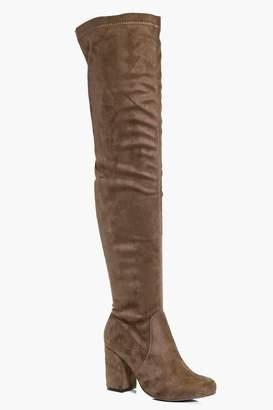 boohoo Block Heel Thigh High Boots