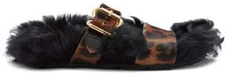 Prada Shearling Lined Calf Hair Slides - Womens - Leopard