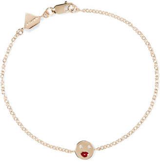 Alison Lou Mwa! Enameled 14-karat Gold Diamond Bracelet