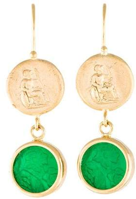 Tagliamonte 18K Mother of Pearl & Glass Doublet Intaglio Earrings