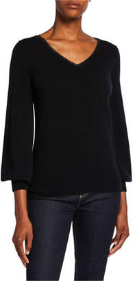 Neiman Marcus Cashmere Blouson-Sleeve V-Neck Sweater w/ Metallic Trim