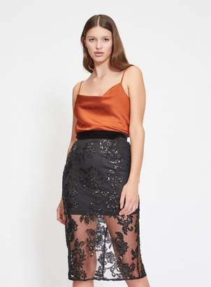 Miss Selfridge Lace beaded pencil skirt