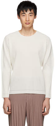 Issey Miyake Homme Plisse Off-White A-POC Inside Pleated Long Sleeve T-Shirt