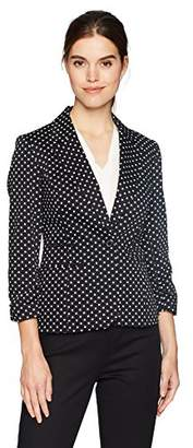 Nine West Women's Cotton Sateen Polka Dot 1 Button Jacket
