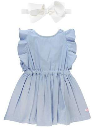 RuffleButts Ruffle-Trim Chambray Dress w/ Solid Bow Headband, Size 12M-3T