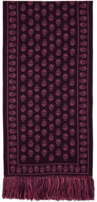 Alexander McQueen Purple and Pink Large Upside Down Skull Scarf