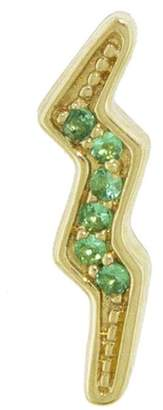 Andrea Fohrman Mini Emerald Lightning Bolt Single Stud Earring - Yellow Gold