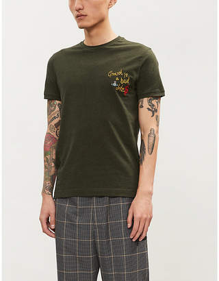 Vivienne Westwood Slogan-embroidered cotton-jersey T-shirt