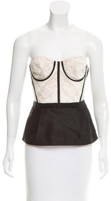 La Perla Lace-Accented Corset Top $200 thestylecure.com