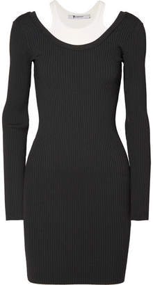 Alexander Wang Layered Ribbed Stretch-jersey Mini Dress - Black