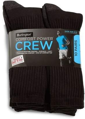 Burlington Comfort Power Men's 10 Pair Crew Socks (Size 6-12) - Made in USA