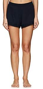 Skin Women's Quientin Lace-Trimmed Pima Cotton Shorts-Night Sky