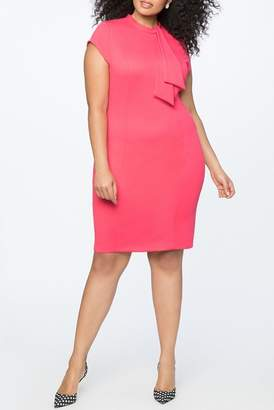 ELOQUII Tie Detail Cap Sleeve Sheath Dress (Plus Size)