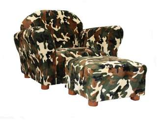 Keet Roundy Children's Chair Camo with ottoman