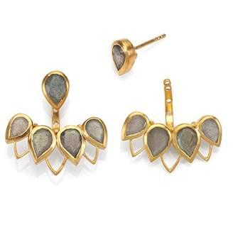 Satya Jewelry Labradorite Gold Plate Petal Bezel Earrings Jacket