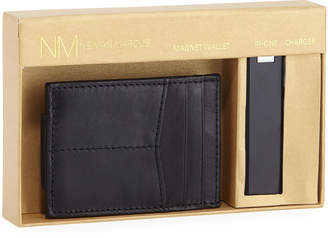 Neiman Marcus Magnetic Wallet and Phone Charger Set, Black