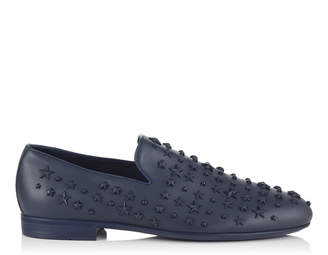 Jimmy Choo SLOANE Navy Sport Calf Leather Slippers with Mixed Stars