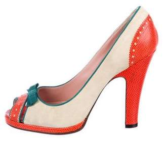 Marc Jacobs Lizard Peep-Toe Pumps