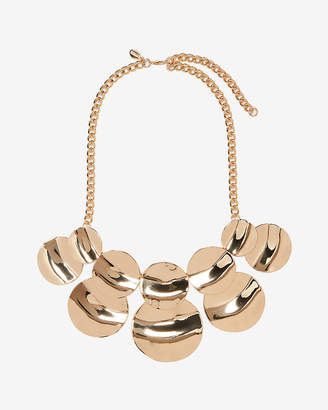 Express Hammered Circle Metal Statement Necklace