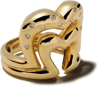Nevernot 18kt gold diamond heart shaped ring