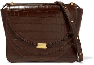 Wandler - Luna Croc-effect Leather Shoulder Bag - Dark brown