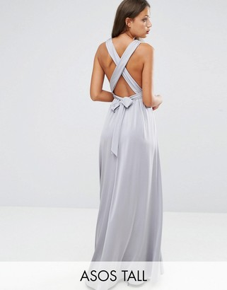 ASOS Tall ASOS TALL Slinky Ruched Tie Back Maxi Dress $89 thestylecure.com