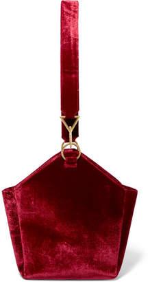 Tara Zadeh - Arezu Crushed-velvet Shoulder Bag - Red