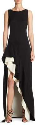 Halston Colorblock Asymmetrical Flounce Skirt Gown