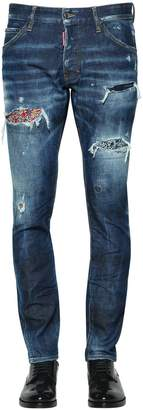DSQUARED2 16.5cm Cool Guy Floral Patch Denim Jeans