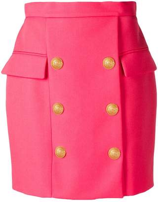 Balmain button detail short skirt