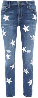 Current/Elliott 'The Fling' star print ripped jeans
