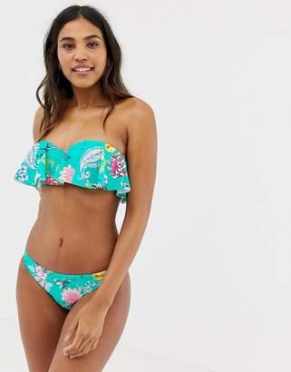 41f227c79e9 Seafolly Water Garden frill bustier bandeau bikini top in multi