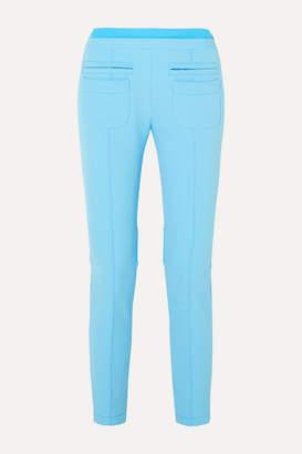 Courreges Cropped Appliqued Stretch-gabardine Skinny Pants - Light blue