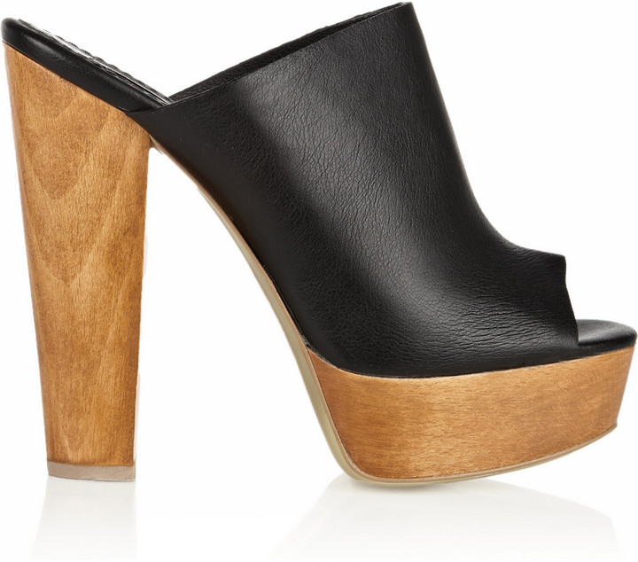 Stella McCartney Faux leather and wooden mules