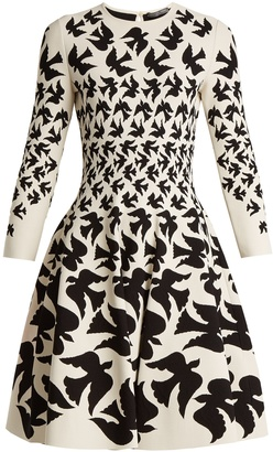ALEXANDER MCQUEEN Doves-intarsia flared-skirt dress