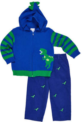 Florence Eiseman Hooded Dinosaur Zip-Up Sweater w/ Corduroy Embroidered Pants, Size 2-4